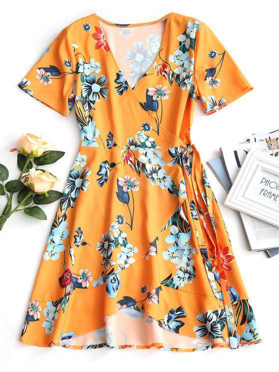 فستان لف كشكش الحاشية طباعة الأزهار - الأزهار S
