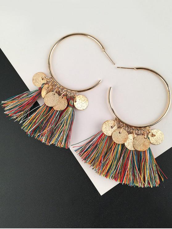 outfit Tassel Circle Disc Hoop Drop Earrings - COLORMIX