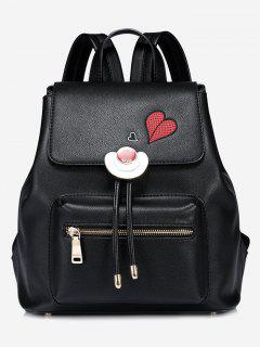 Heart Embroidery Faux Leather Backpack - Black