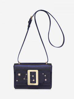 Buckled Stars Embroidery Crossbody Bag - Cerulean