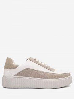 Platform Color  Block Skate Shoes - White 38