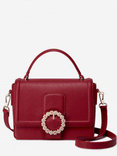 Flower Round Buckled Handbag - Red