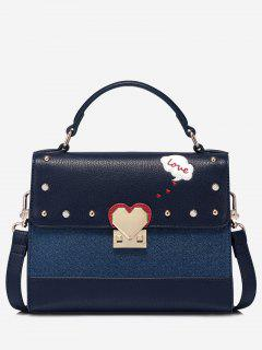 Studs Heart Pattern Metal Handbag - Blue