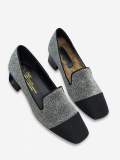 Color Block Stacked Heel Loafers - Silver 38