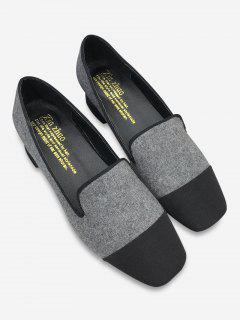 Color Block Stacked Heel Loafers - Gray 38