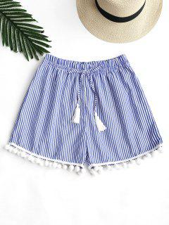 Tassels Bowknot Striped Pompoms Shorts - Blue