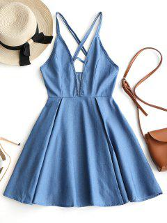 Cut Out Criss Cross Chambray Strappy Dress - Denim Blue M