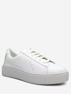 PU Leather Breathable Sneakers - White 39