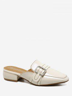 Buckled Low Heel Mules Shoes - Apricot 35