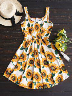 Sunflower Print High Waist Flare Dress - Floral Xl