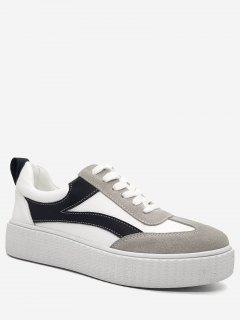 Stitching Color Block Sneakers - White 40