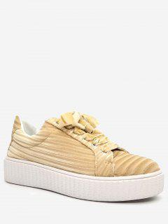 Lace Up Faux Suede Sneakers - Apricot 36
