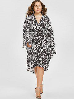 Plunging Neck Leaf Print Asymmetric Plus Size Dress - White And Black 2xl