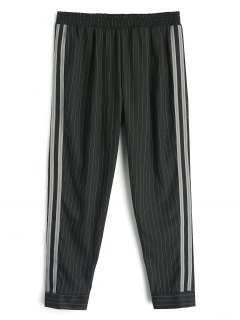 Ribbon Stripes Harem Pants - Black L