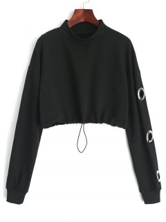 Gathered Cropped Metallic Rings Sweatshirt - Black S