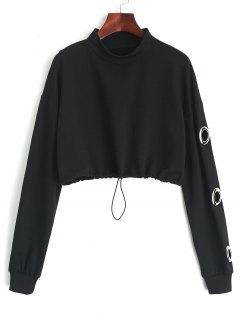 Gathered Cropped Metallic Rings Sweatshirt - Black L
