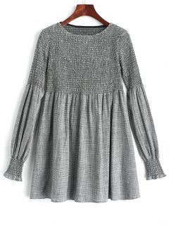 Long Sleeve Smocked Plaid Tunic Dress - Checked S