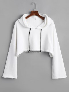 Raw Hem Drawstring Cropped Hoodie - White