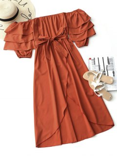 Belted Off Shoulder Asymmetrical Dress - Red L