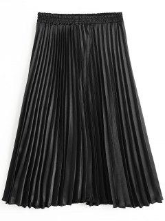 High Waist Pleated Skirt - Black M