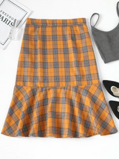 Ruffle Plaid Midi Skirt - Checked L