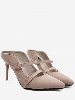 Stiletto Heel Faux Suede Mules Shoes - Apricot 39