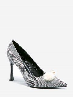 Pom Pom Checked High Heel Pumps - Gray 38