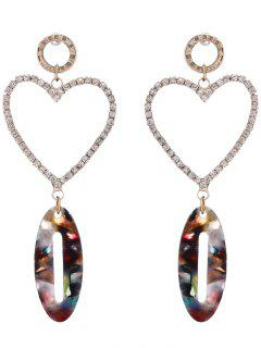 Rhinestone Inlay Heart Shape Drop Earrings - Golden