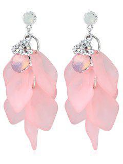 Unique Heart Shape Faux Gem Drop Earrings - Pink