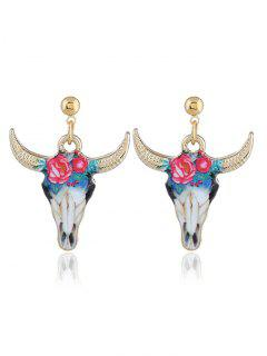 Boho Style Tiny Cow Head Alloy Drop Earrings - Blue And Red