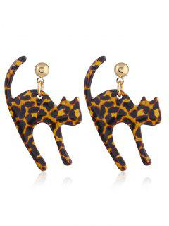 Small Long Tail Cat Stud Drop Earrings - Brown Leopard