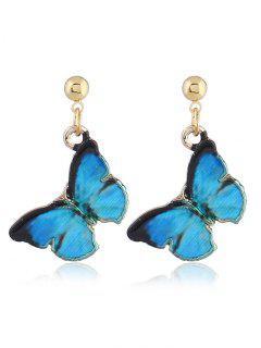Fairy Tale Butterfly Drop Earrings - Blue