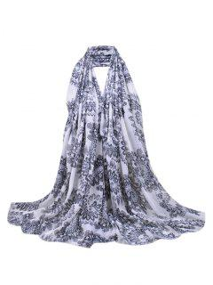 Flourishing Floral Sequins Decorated Fringed Long Scarf - Black
