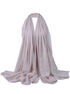 Soft Stripe Pattern Embellished Silky Scarf - Beige