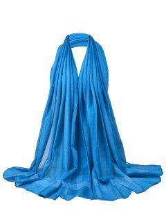 Patrón De Color Simple Soild Bufanda Larga Y Transparente - Lago Azul
