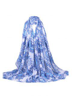 Flourishing Floral Sequins Decorated Fringed Long Scarf - Blue