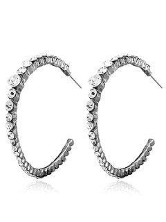 Ringent Rhinestone Inlay Hoop Earrings - Black