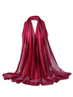 Simple Soild Color Pattern Long Sheer Scarf - Wine Red