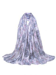Flourishing Floral Sequins Decorated Fringed Long Scarf - Light Gray