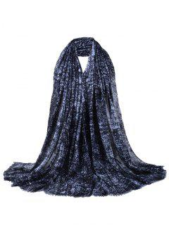 Retro Sequins Decorated Fringed Shawl Scarf - Black