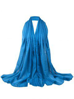 Soft Stripe Pattern Embellished Silky Scarf - Blue