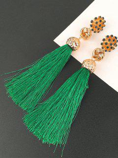Faux Diamond Floral And Knot Tassel Drop Earrings - Green