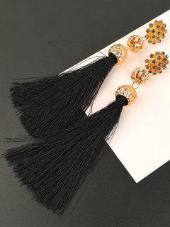 Faux Diamond Floral And Knot Tassel Drop Earrings - Black