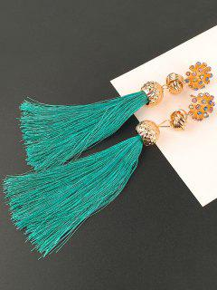 Faux Diamond Floral And Knot Tassel Drop Earrings - Peacock Blue
