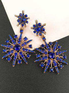 Inlaid Sparkling Star Faux Crystal Dangle Earrings - Blue