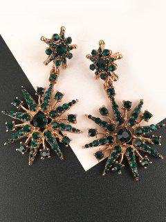 Inlaid Sparkling Star Faux Crystal Dangle Earrings - Green