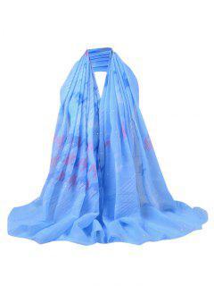 Sequins Embellished Fringed Sheer Scarf - Azure