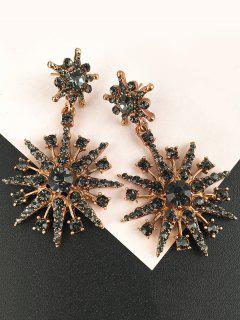 Inlaid Sparkling Star Faux Crystal Dangle Earrings - Black