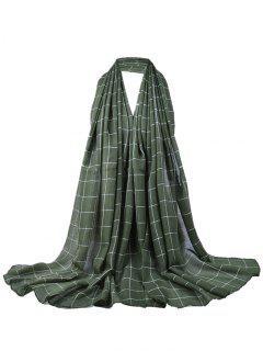 Plaid Pattern Decorated Lightweight Shawl Scarf - Army Green