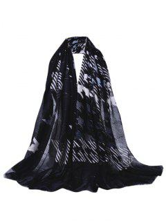 Sequins Embellished Fringed Sheer Scarf - Black